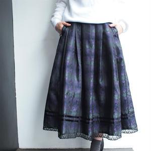 Purple×Green×Black flare skirt