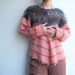 Salmon pink 異素材knit