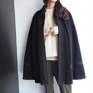 1950's  Black wool cape coat