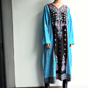 India Embroidery blue dress
