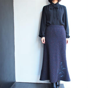 Wool  tweed mermaid long skirt
