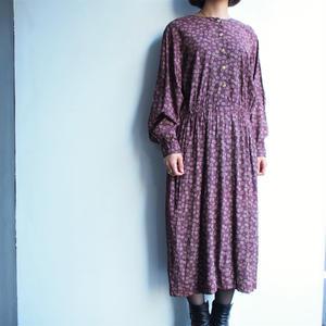 あずき色Batwing  sleeve Flower pattern dress