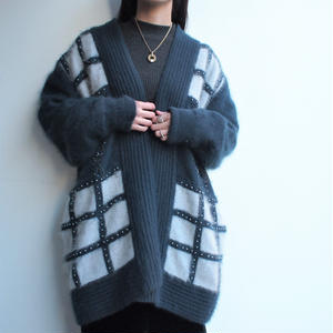 Angola knit 裏地付 cardigan