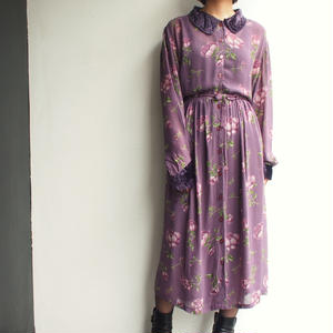 Made in India velours × chiffon Flower print dress