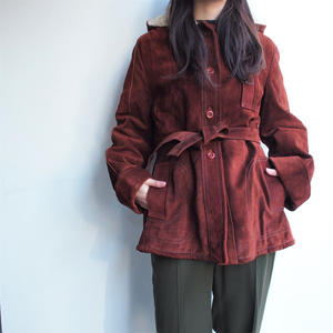 1970's Suede wool boa inner leather coat