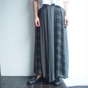 Plaid ×Stripe maxi skirt