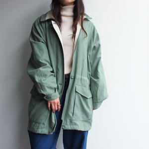 Light green stand collar coat(取外しfood)