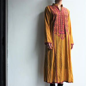 India Embroidery yellow dress