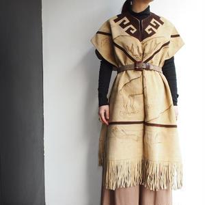 suede fringe cape coat