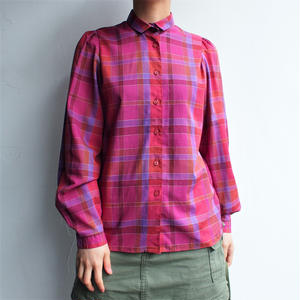 Red purple Plaid cotton blouse