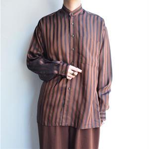 Stand collar stripe blouse