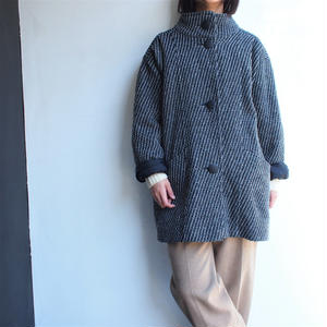 Tweed stand collar short coat