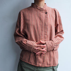 Stand collar plaid cotton shirt