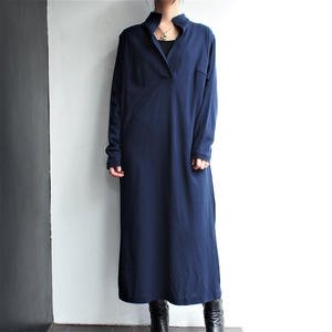Made in W.Germany Stand collar deep blue dress