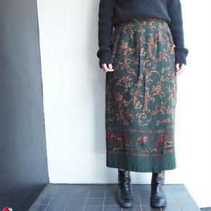 Green Scarf柄 long skirt