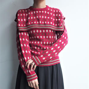 Sailor collar Red knit