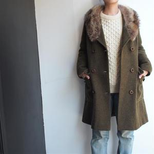 Raccoon fur collar coat
