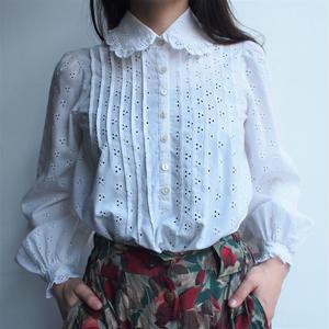 White cut work blouse