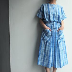 Seersucker light blue dress