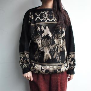 Made in Italy Bird pattern black knit