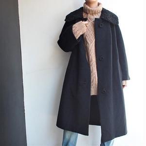 Astrakhan collar wool coat