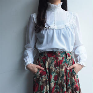 White stand collar blouse