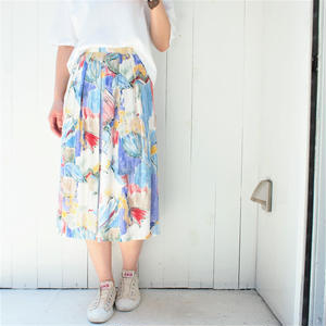 Pleats Print skirt