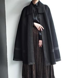 1950's  Black wool cape coat
