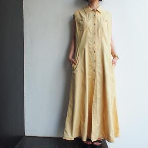 Cotton Yellow maxi dress(前釦開き)
