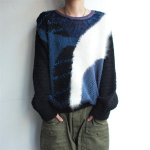 fabric in France Blue 異素材 knit