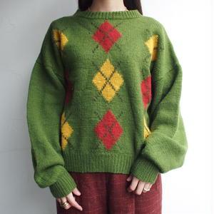 Green argyle knit