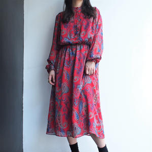 RED Paisley one piece dress