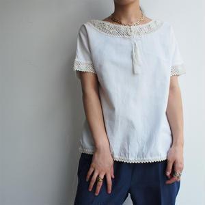 Europe vintage linen white blouse