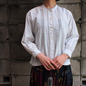 Early 1900's France antique cotton blouse(stand collar )