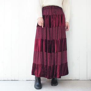 Red  velours 切替 skirt