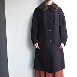 Fur collar long coat