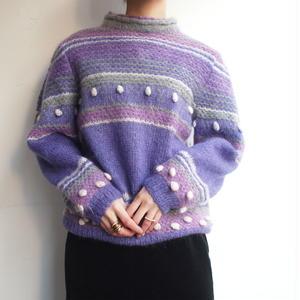 Loose twist yarn Purple knit