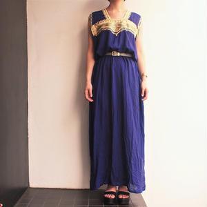 Purple gold chain stitch tape   maxi dress