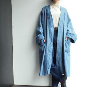 Denim gown coat