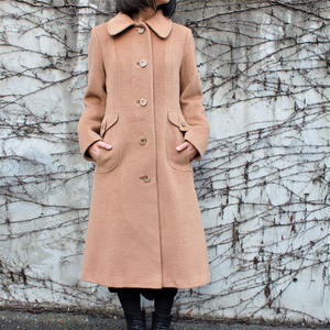 Made in USA Round collar wool coat