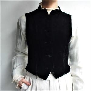 Velours stand collar vest
