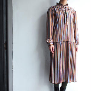 Made in Britain Stand collar stripe dress