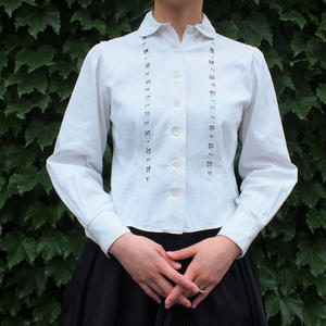 Cut work  round collar white blouse