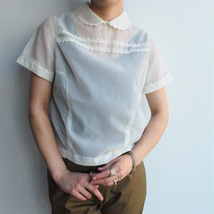 Round collar see-through blouse