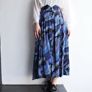 High waist blue×purple skirt