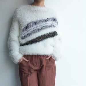White shaggy異素材 knit