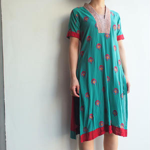 India Emboidery green dress