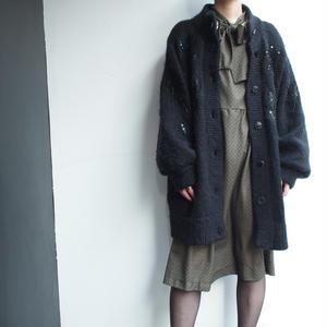 Black Mohair knit cardigan coat