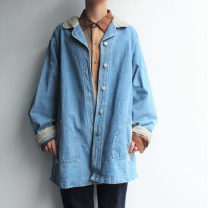 Corduroy collar denim short coat