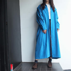 Blue stand collar coat